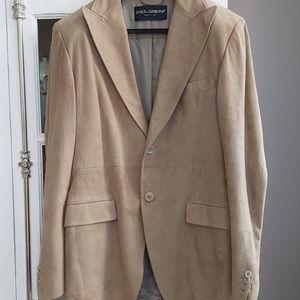 Dolce & Gabbana Beige Suede Leather Blazer, IT 52